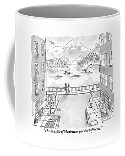 Two People In Manhattan Gaze Out At A Spectacular Coffee Mug