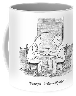 Two People Sit At A Table Coffee Mug