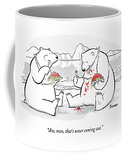 Two Polar Bears Eat Spaghetti And Meatballs.  One Coffee Mug