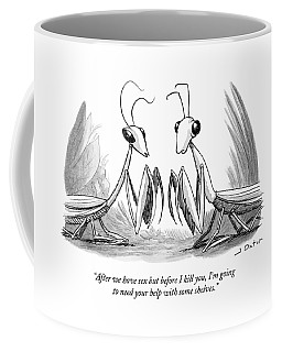 Two Praying Mantises Facing Each Other Coffee Mug