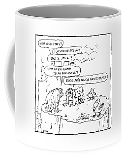 Two Prehistoric Creatures Reason That Coffee Mug