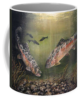 Two Rainbow Trout Coffee Mug by Donna Tucker