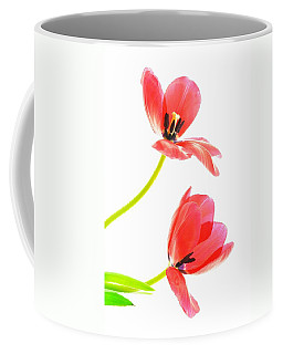Two Red Transparent Flowers Coffee Mug