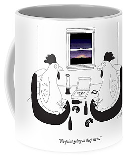 Two Roosters Seeing A Sunrise Out Their Window Coffee Mug