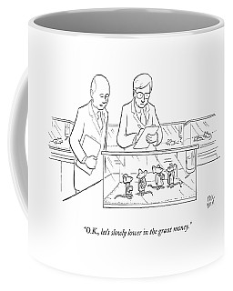 Two Scientists In Lab Coats Observe A Group Coffee Mug