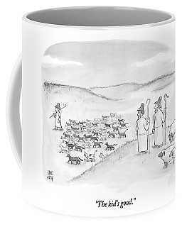 Two Shepherds With Conventional Sheep Look Coffee Mug