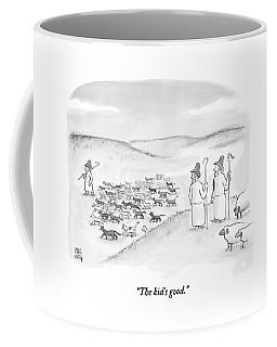 Two Shepherds With Conventional Sheep Look Coffee Mug