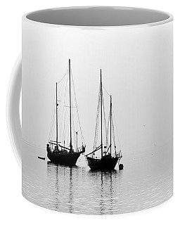 Two Ships In The Fog Coffee Mug by AJ  Schibig