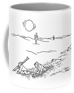Two Skiers Wind Up Plodding Through The Desert Coffee Mug