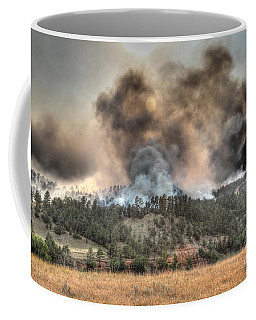 Two Smoke Columns White Draw Fire Coffee Mug