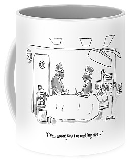 Two Surgeons In A Operating Masks Talk Coffee Mug