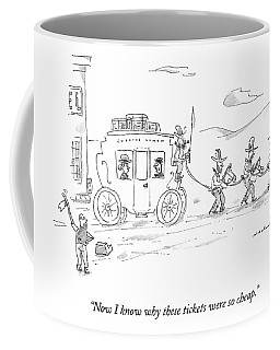 Two Travellers On Stagecoach Notice That Coffee Mug