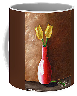 Coffee Mug featuring the painting Two Tulips And A Pink Rose by Laura Forde