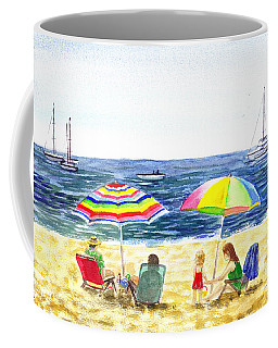 Two Umbrellas On The Beach California  Coffee Mug