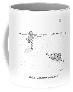 Two Weathered Men Traverse A Desert. One Stops Coffee Mug
