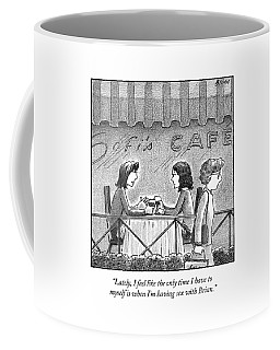 Two Women Converse At A Cafe Coffee Mug