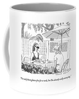 Two Women Speak At A Cafe Speak Coffee Mug