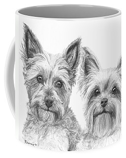 Two Yorkshire Terriers In Charcoal Coffee Mug