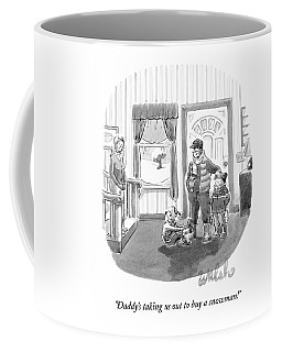 Two Young Girls Stand With Their Parents Coffee Mug