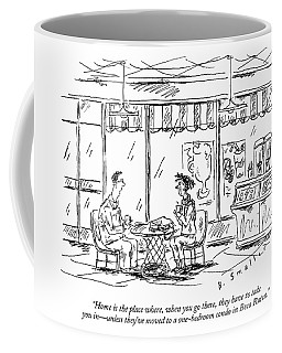 Two Younger People Speak At A Coffee Shop Coffee Mug