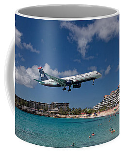 U S Airways Low Approach To St. Maarten Coffee Mug by David Gleeson