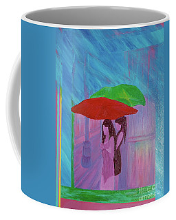 Coffee Mug featuring the painting Umbrella Girls by First Star Art