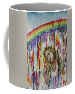 Coffee Mug featuring the painting Under A Crying Rainbow by Anna Ruzsan