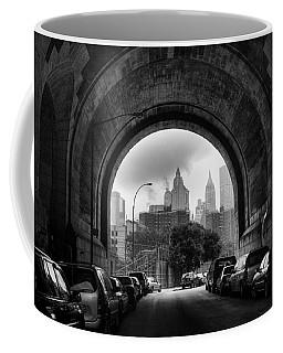 Coffee Mug featuring the photograph New York City - Manhattan Bridge - Under by Dave Beckerman