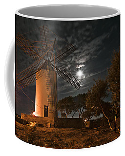 Vintage Windmill In Es Castell Villacarlos George Town In Minorca -  Under The Moonlight Coffee Mug by Pedro Cardona