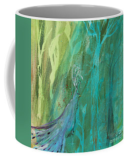 Coffee Mug featuring the painting Undercover Peacock by Robin Maria Pedrero
