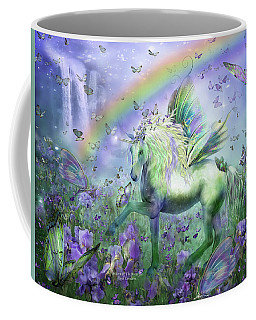 Unicorn Of The Butterflies Coffee Mug by Carol Cavalaris