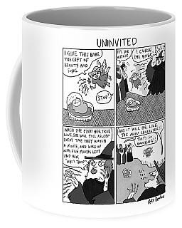 Uninvited -- A 4-panel Cartoon Of A Sleeping Coffee Mug