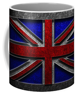 Coffee Mug featuring the digital art Union Jack Stone Texture by The Learning Curve Photography