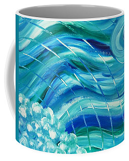 Coffee Mug featuring the painting Universal Waves by Amelie Simmons