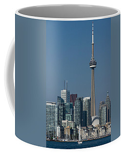 Up Close And Personal - Cn Tower Toronto Harbor And Skyline From A Boat Coffee Mug by Georgia Mizuleva