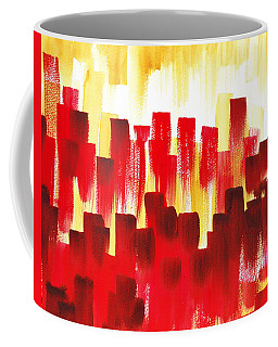 Coffee Mug featuring the painting Urban Abstract Red City Lights by Irina Sztukowski