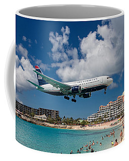 U S Airways Landing At St. Maarten Coffee Mug