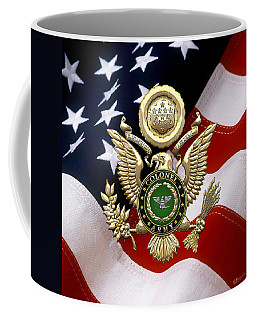 U. S. Army Colonel - C O L Rank Insignia Over Gold Great Seal Eagle And Flag Coffee Mug