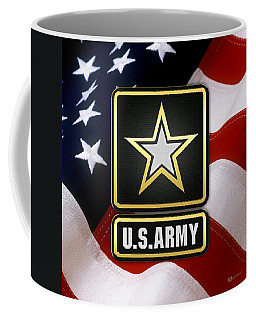 U. S. Army Logo Over American Flag. Coffee Mug
