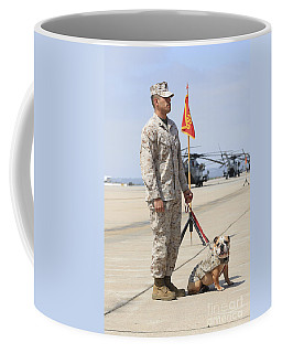 Coffee Mug featuring the photograph U.s. Marine And The Official Mascot by Stocktrek Images