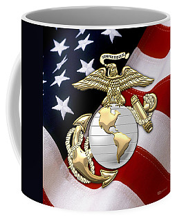 U. S. Marine Corps - U S M C Eagle Globe And Anchor Over American Flag. Coffee Mug