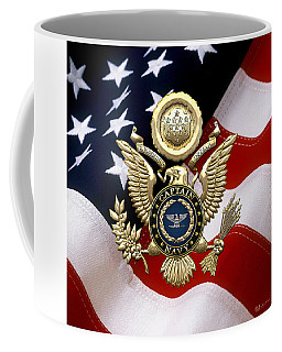 U. S.  Navy Captain - C A P T  Rank Insignia Over Gold Great Seal Eagle And Flag Coffee Mug