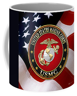 U S M C Eagle Globe And Anchor - E G A Over American Flag. Coffee Mug