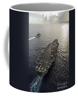 Coffee Mug featuring the photograph Uss George Washington And Uss Mobile by Stocktrek Images