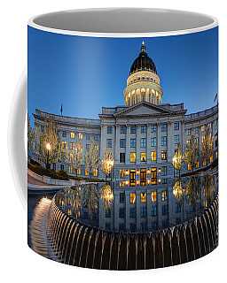 Utah State Capitol In Reflecting Fountain At Dusk Coffee Mug