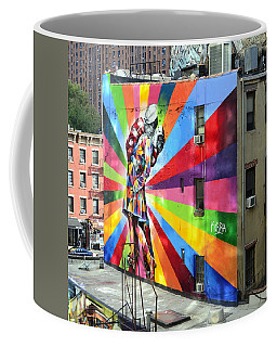 V - J Day Mural By Eduardo Kobra Coffee Mug by Allen Beatty