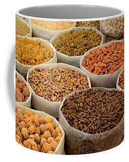 Variety Of Raw Nuts For Sale At Outdoor Street Market Karachi Pakistan Coffee Mug