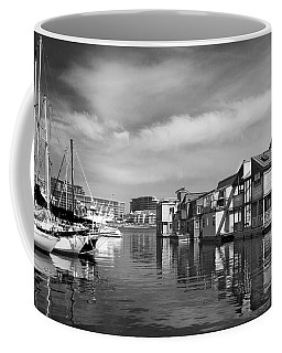 Veiw Of Marina In Victoria British Columbia Black And White Coffee Mug