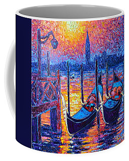 Venice Mysterious Light - Gondolas And San Giorgio Maggiore Seen From Plaza San Marco Coffee Mug