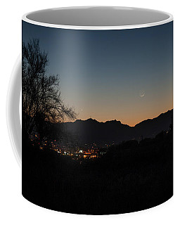 Coffee Mug featuring the photograph Venus And A Young Moon Over Tucson by Dan McManus